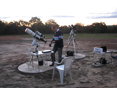 Wagin Astophotography Weekend #2 - 26/8/2011  Jean Marie Locci with his William Optics FLT132 and SBIG 8300c, Skywatcher NEQ6 based equipment in foreground (my gear at rear)